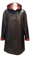 Lyn Leather Women's A-Line Black/Red Leather Coat w/ Hood
