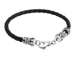 King Baby Studio Thin Black Leather Braided Crown Bracelet