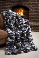 Wolfie Furs Platinum Fox Fur Salt & Pepper Sectional Throw Blanket