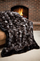 Wolfie Furs Silver Fox Fur w/ Midnight Black Trim Throw Blanket