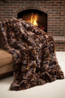 Wolfie Furs Marble Prestige Fox Fur Sectional Throw Blanket