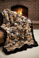 Wolfie Furs Marble Cross Fox Fur w/ Black Trim Throw Blanket