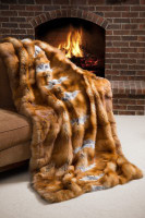 Wolfie Furs Gold Butterscotch Full Skin Red Fox Fur Throw Blanket