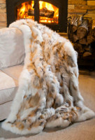 Wolfie Furs Golden Fox Fur  w/ Icy White Trim Throw Blanket
