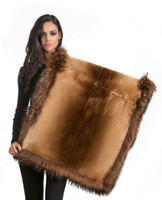 Wolfie Furs Butterscotch Mink Fur Throw w/ Fox Fur Trim