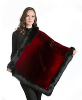 Wolfie Furs Wine Red Mink Fur Throw w/ Black Fox Fur Trim