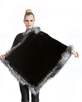 Wolfie Furs Midnight Black Mink Fur Throw w/ Silver Fox Fur Trim