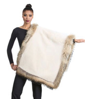Wolfie Furs Cream Mink Fur Throw w/ Natural Fox Fur Trim