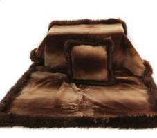 Wolfie Furs Chocolate Brown Mink Fur Throw Blanket w/ Fox Trim