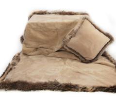 Wolfie Furs Ecru Beige Mink Fur Throw Blanket w/ Brown Fox Trim