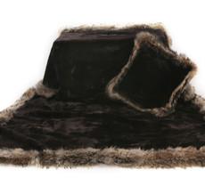 Wolfie Furs Midnight Black Mink Fur Throw Blanket w/ Brown Fox Trim