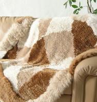 Paula Lishman Hand Knit Checkerboard Sheared Beaver Blanket w/ Fox Trim