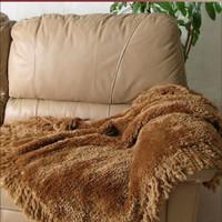 Paula Lishman Hand Knit Caramel Genuine Sheared Beaver Woven Blanket