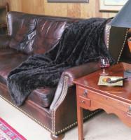 Paula Lishman Hand Knit  Sheared Beaver Ombre' Mahogany Blanket