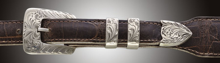 Chacon Belts & Buckle  Arrow Floral Filigree Engraved, ¾