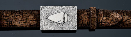 Chacon Belts & Buckle Arrowhead Fine Engraved in Silver, 1 1/2""