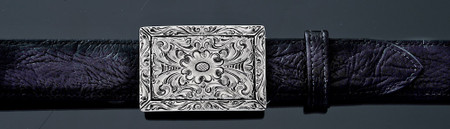 Chacon Belts & Buckle Fine Line Filigree Engraved Rectangular, 1 1/2""