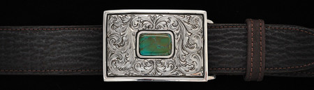 Chacon Belts & Buckle Montezuma Fine Engraved with Turquoise, 1 1/2""