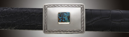Chacon Belts & Buckle Rectangle with Turquoise Stone, 1 ½""