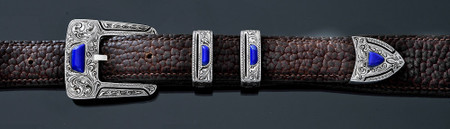 Chacon Belts & Buckle Gila Fine Engraved with Lapis Lazuli, 1""