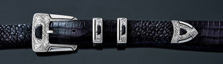 Chacon Belts & Buckle Gila Feather Engraved with Black Jade, 1""