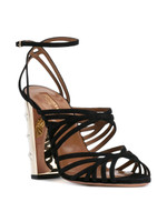 Aquazzura Trinity Black Suede Sandal with Star Detailed Heel
