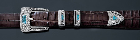 Chacon Belts & Buckle Gila Fine Engraved with Turquoise Chip Inlay, 1""