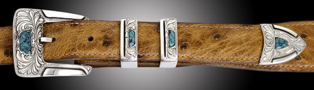 Chacon Belts & Buckle Gila Feather Engraved with Turquoise, 1""