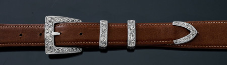 """Chacon Belts & Buckle Swirling Filigree Cadillac Fine Engraved, 1"""""""