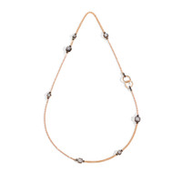 Pomellato Nudo Obsidian & Diamonds Station Necklace with Ring Clasp