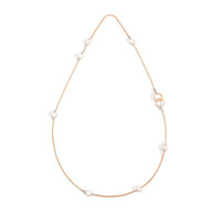 Pomellato Nudo Pearl & White Topaz Station Necklace with Ring Clasp
