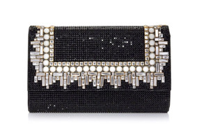 Judith Leiber Couture Fizzoni Art Deco Black Clutch Bag