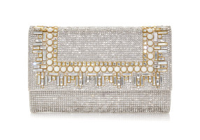 Judith Leiber Couture Fizzoni Art Deco Silver Clutch Bag