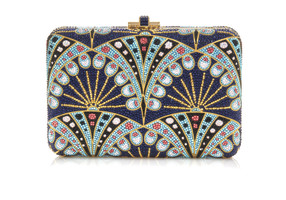 Judith Leiber Couture Crystal-Covered Slim Slide Amulet Clutch
