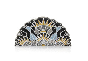 Judith Leiber Couture Crystal-Covered Tessen Empire Clutch Bag