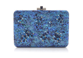 Judith Leiber Couture Slim Slide Under The Sea Blue Clutch