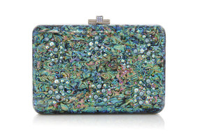 Judith Leiber Couture Slim Slide Under The Sea Emerald  Clutch