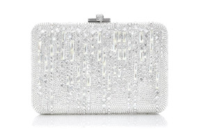 Judith Leiber Couture Slim Slide Silver Minaudiere Clutch