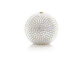 Judith Leiber Couture Sphere Silver Bling Minaudière Clutch Bag