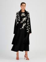 Oscar de la Renta Black Sheared Mink Crystal Embroidered Coat