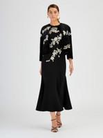 Oscar de la Renta Black Sheared Mink Crystal Embroidered Jacket
