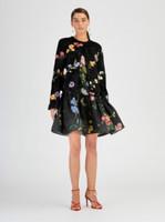 Oscar de la Renta Black Lamb Floral Embroidered Jacket