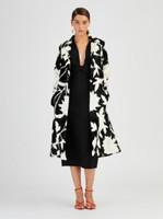 Oscar de la Renta Black & White Lamb Garden Intarsia Print Coat