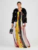 Oscar de la Renta Black Fox Fur with Floral Embroidered Jacket