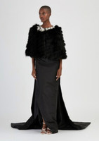 Oscar de la Renta Black Fox Striped Caplet w/ Silver Applique Collar Jacket