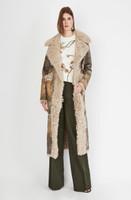 Oscar de la Renta Green Patterned Lamb Long Coat with Sheared Detail