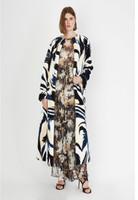 Oscar de la Renta Green Genuine Lamb Multicolor Tropical Print Coat