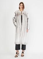 Oscar de la Renta Black, White, and Gray Striped Mink Long Coat