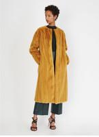 Oscar de la Renta Turmeric Mink Long Coat w/ Round Collar