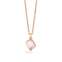 Pomellato 18K Rose Gold Pink Quartz Brown Diamonds Ritratto Pendant